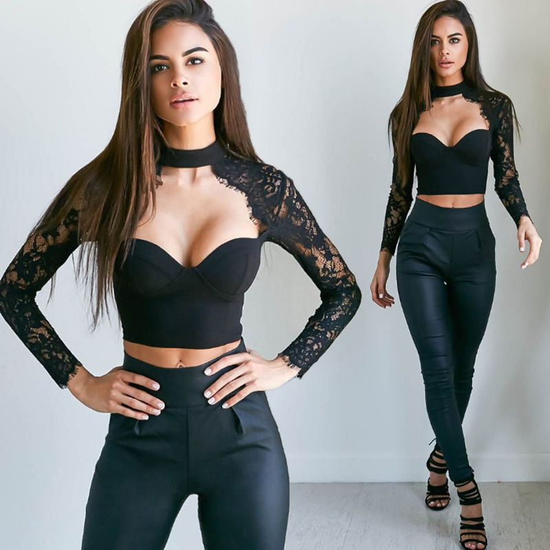 b25e7e0abc1a Women Apparel Summer style elegant black lace crochet crop top Girls Long  sleeve Black blouse Women sexy hollow out shirt tops