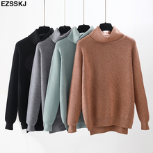 2018 casual oversize Autumn Winter turtleneck Sweater Pullover Women Long  Sleeve loose Basic female thick Knitted 7a0a26eea