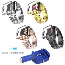 Gold Plated Cover Case 316L Stainless Steel Watch Band For Apple Watch Series 2 iWatch 1st 2nd 42mm 38mm Strap + Adjust Tool
