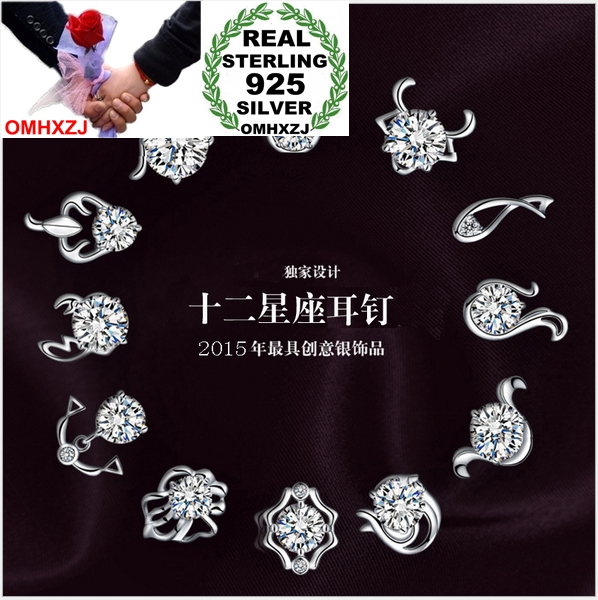 OMHXZJ WHOLESALE Fashion jewelry animal 12 constellation Chinese zodiac Taurus Leo REAL S925 STERLING SILVER STUD EARRINGS YS76OMHXZJ WHOLESALE Fashion jewelry animal 12 constellation Chinese zodiac Taurus Leo REAL S925 STERLING SILVER STUD EARRINGS YS76