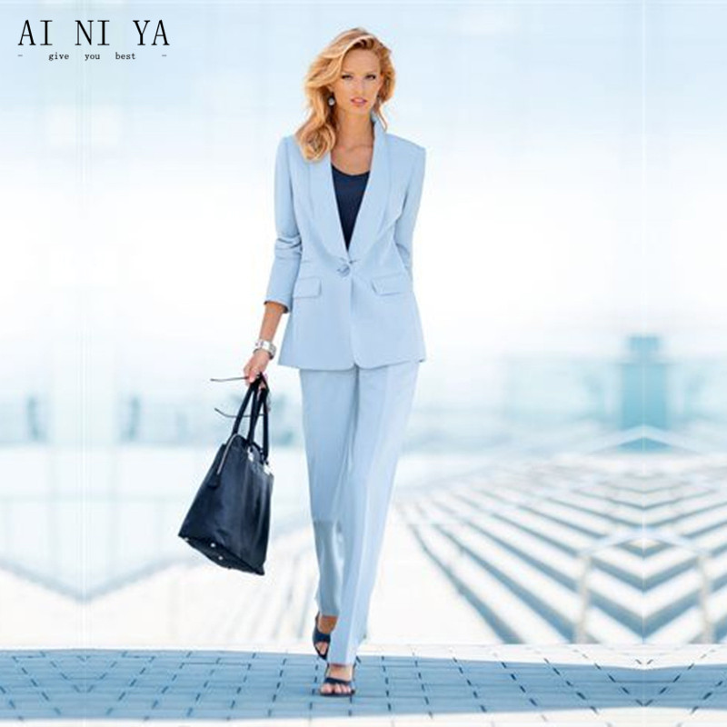 Suits & Sets Popular Royal Blue Womens Business Work Wear Female Suits Ladies Trouser Suits Custom Made Tuxedos B200