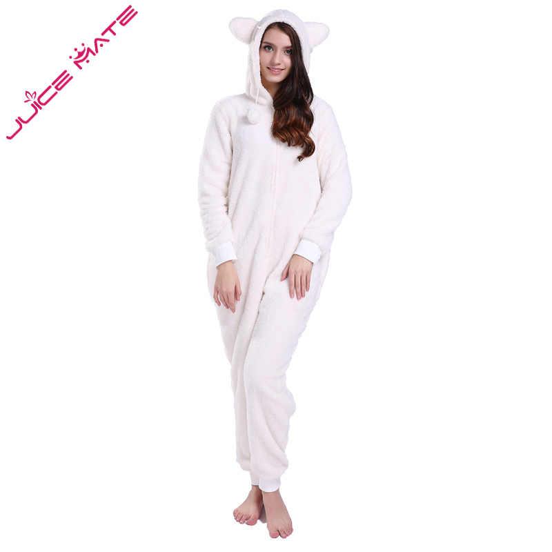 732034487155 ... JuiceMate Plus Size Fluffy Fleece Hooded Onesie Jumpsuit Overall Pyjama  Set With Animal Ears Winter Warm ...