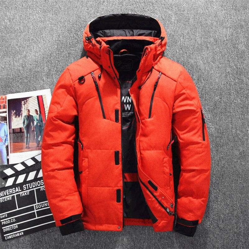 Veste de Ski pour hommes d'hiver améliorée plusieurs poches épaissir 80% vestes à capuche en duvet de canard blanc manteau de neige garde au chaud - 5