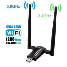 Sans fil USB WiFi adaptateur 1200Mbps double bande 2.4GHz/300Mbps 5GHz/867Mbps haut Gain double 5dBi antennes réseau WiFi USB 3.0