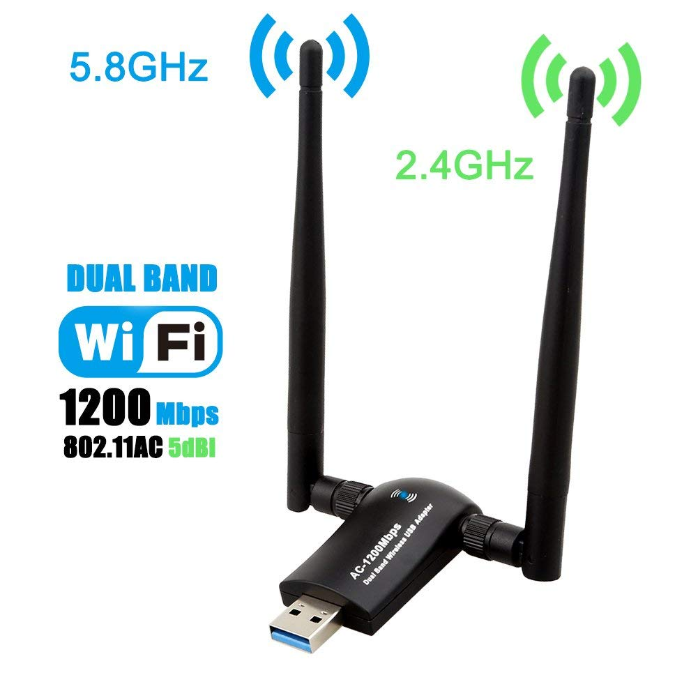 Wireless USB WiFi Adapter 1200Mbps Dual Band 2.4GHz/300Mbps 5GHz/867Mbps High Gain Dual 5dBi Antennas Network WiFi USB 3.0 image