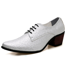 MIUBU Men Oxford Dress Shoes Lace Up Pointed Toe High Heels Luxury Gold Silver Wedding Groom Shoes Bling Glitter Party Prom