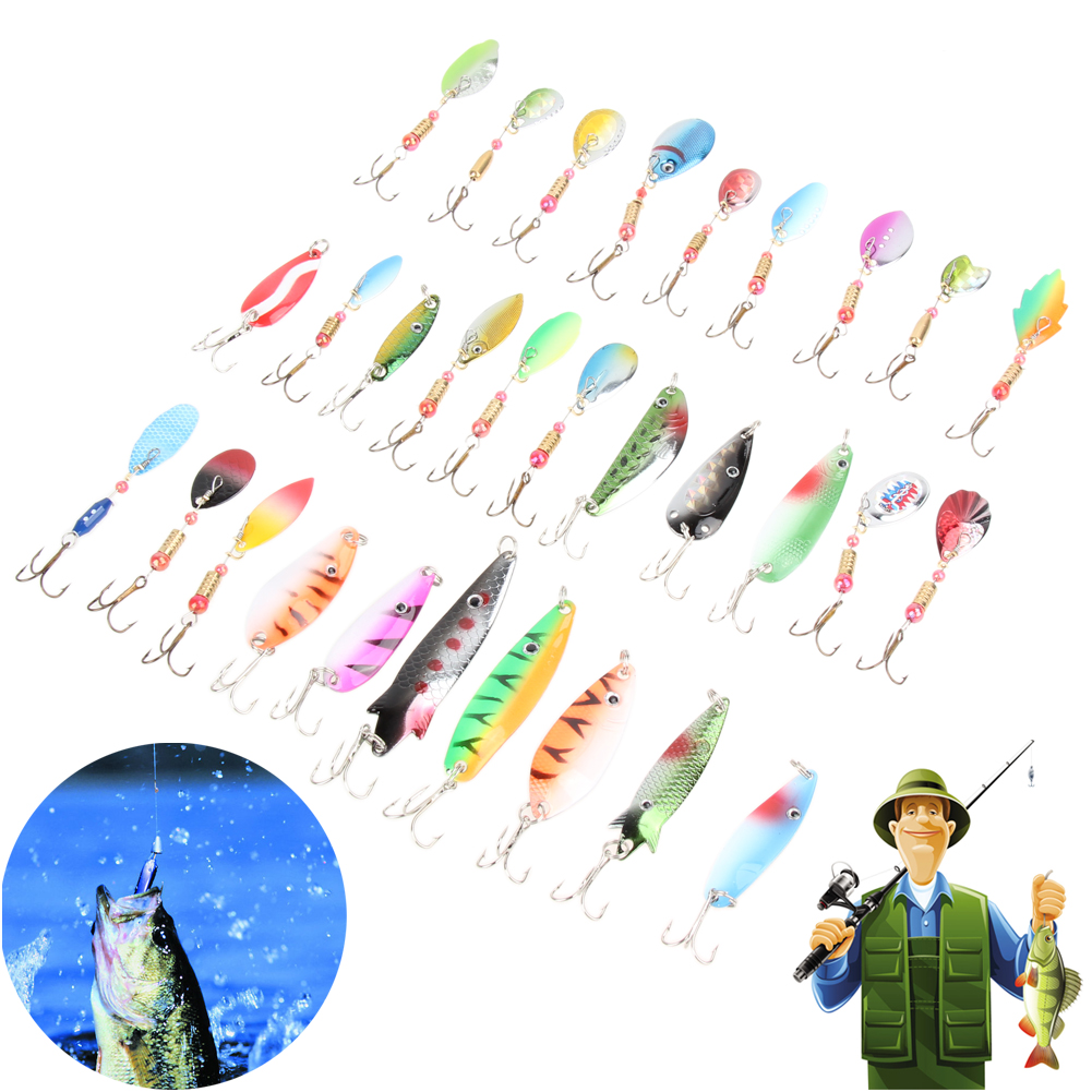 30Pcs Mixed Style Fishing Lure Accessories Minnow Spinner Spoon Metal Artificial Hard Bait Fish Lures Set Fishing Tackle Hooks jsfun 75pcs set fishing lure kit in storage box mixed hard bait soft lures metal lure spoon fishing tackle accessory fu263