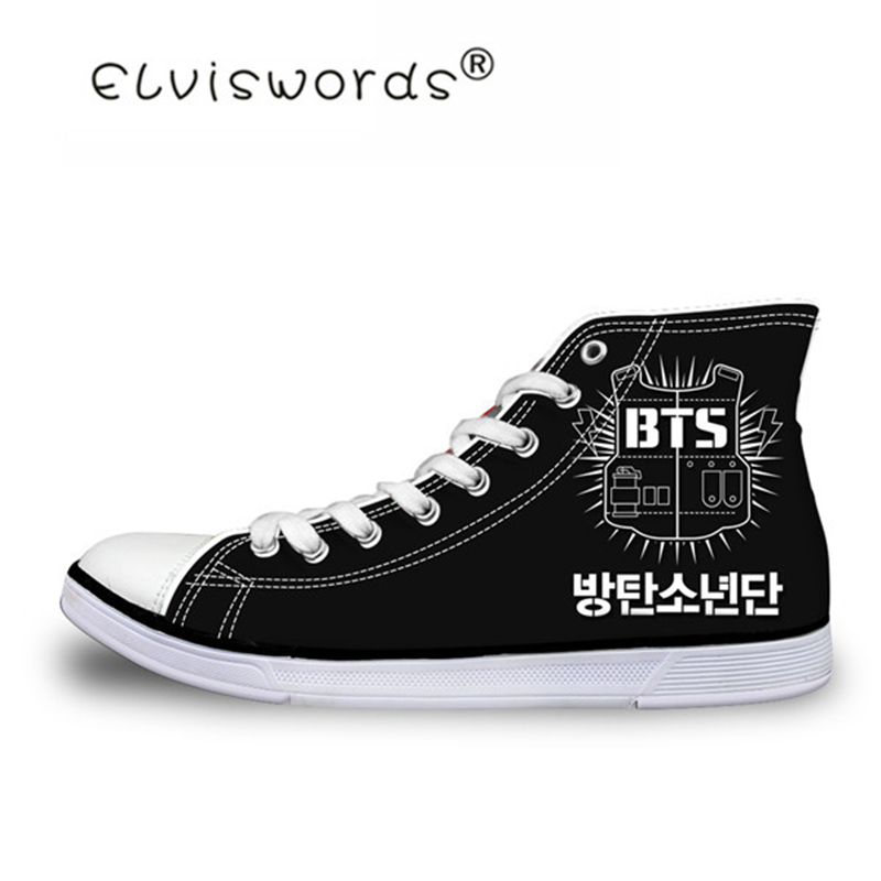 ELVISWORDS Kpop BTS Pattern Vulcanized Shoes Casual Flats Men's Sneakers Fashhion High Top Canvas Shoe for Teen Boys Zapatos Man bts shoes women canvas flat shoes 2016 new arrivals kpop bts all members ladies flats free shipping