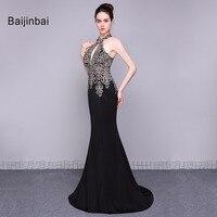 Baijinbai Women Sexy Long Black Prom Dresses Custom 2018 Halter Sequins Mermaid Party Vestido De Festa Dresses Abendkleider79023