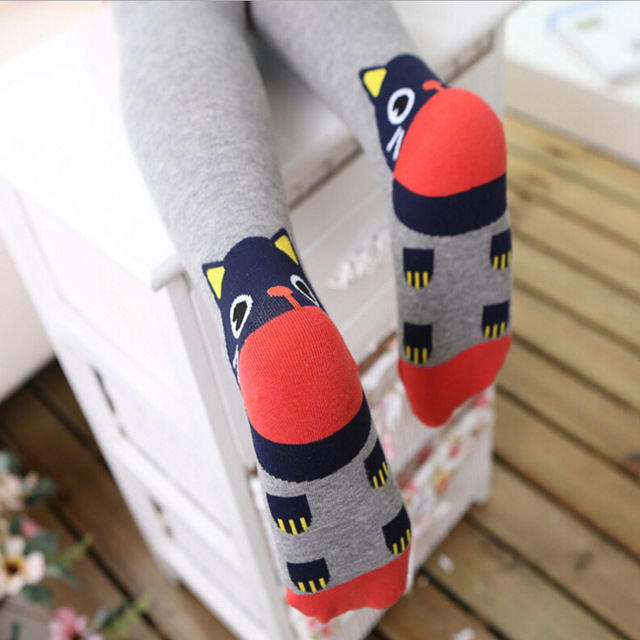 New Arrival Cat Cartoon Pattern Children Tights For Girls Spring & Autumn Cotton Fashion Girls Stockings Free Shipping
