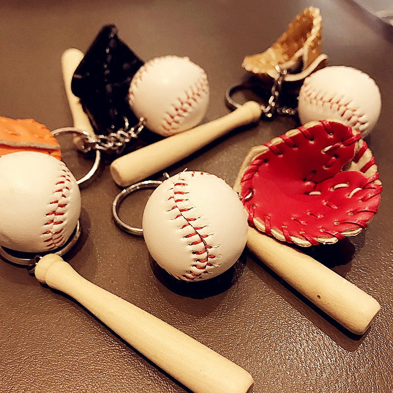 1 Pc Multicolor Men Bag Car Key Ring Glove Wooden Tennis Baseball Key Chain Holder Couples Lover Gift for Women Keychain Jewelry