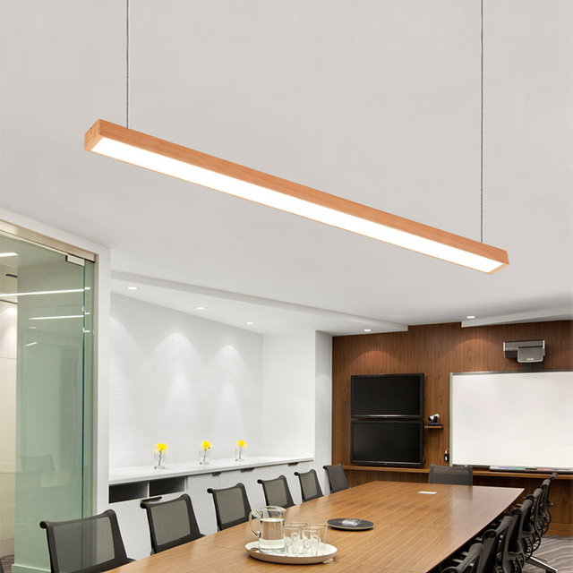 SVITZ Customize Wood Grain LED Pendant Lights Aluminum Office Pendant Lamp  Nordic Hanging Light Class Room
