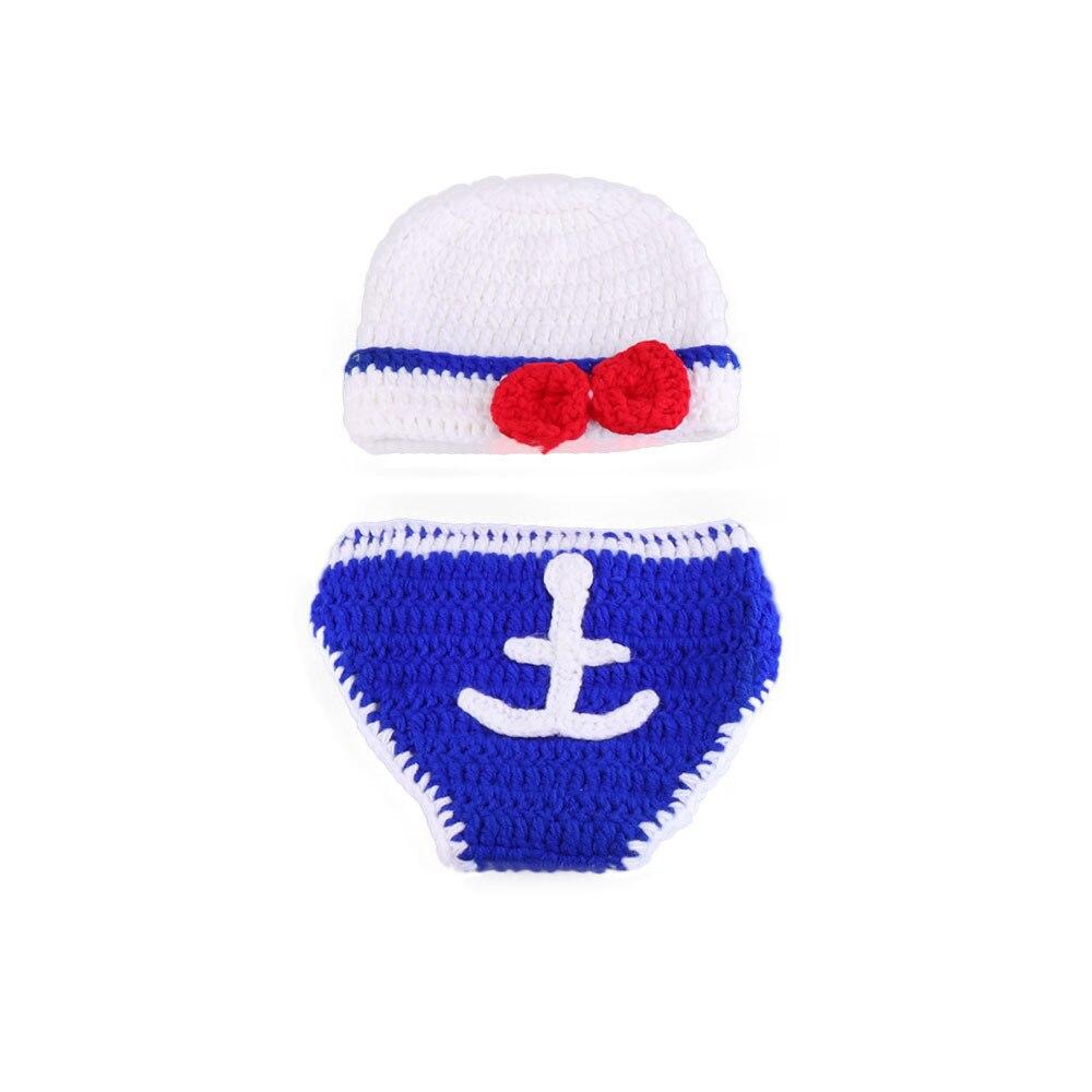 Bebé recién nacido ganchillo traje fotografía tejer cartoon sailor ...