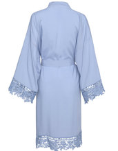 YUXINBRIDAL light blue Rayon New Solid Cotton Kimono Robes With Lace Trim Women Wedding Bridal Robe Short Belt Bathrobe