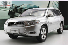 2009 Silver 1:18 TOYOTA HighLander SUV Off Road Alloy Model Car Miniature Scale Model Hot Sale  Brinquedos