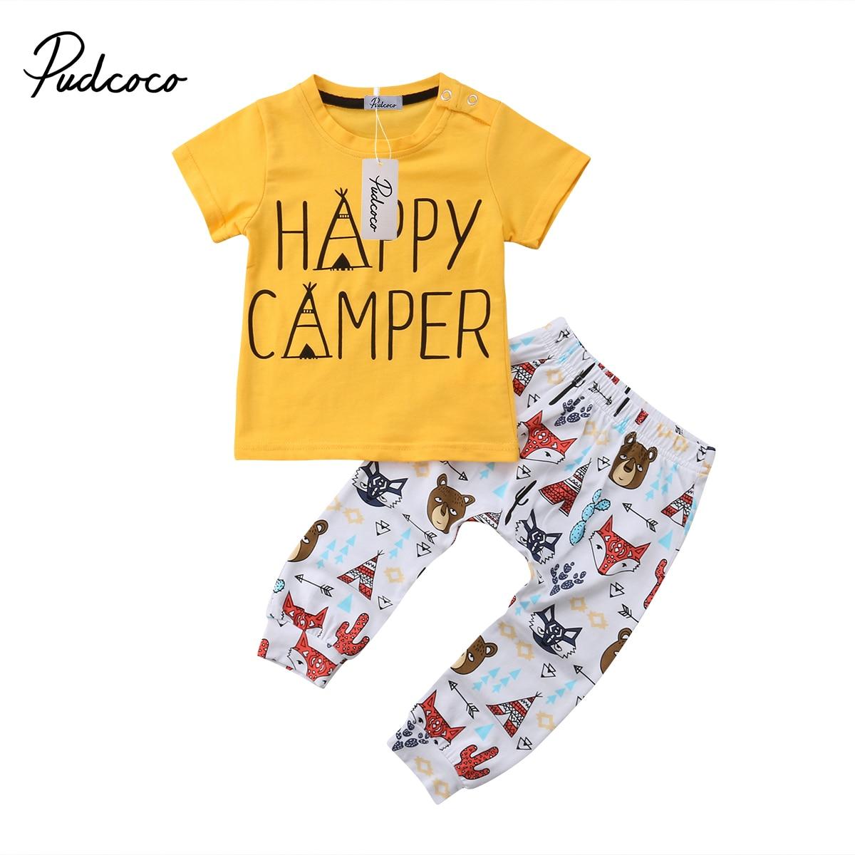 2018 Brand New Animali Appena Nati Infantili Neonati Maschi Ragazza Top T Shirt Pantaloni Outfit 2 Pz Set Happy Camper Estate Vestiti Ultima Moda