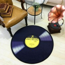 Soft Velvet Fabric Music Record Player Circular Floor Mat Pad Carpet Bedroom Kids Room Home Living Rug Best Gift Music Lovers