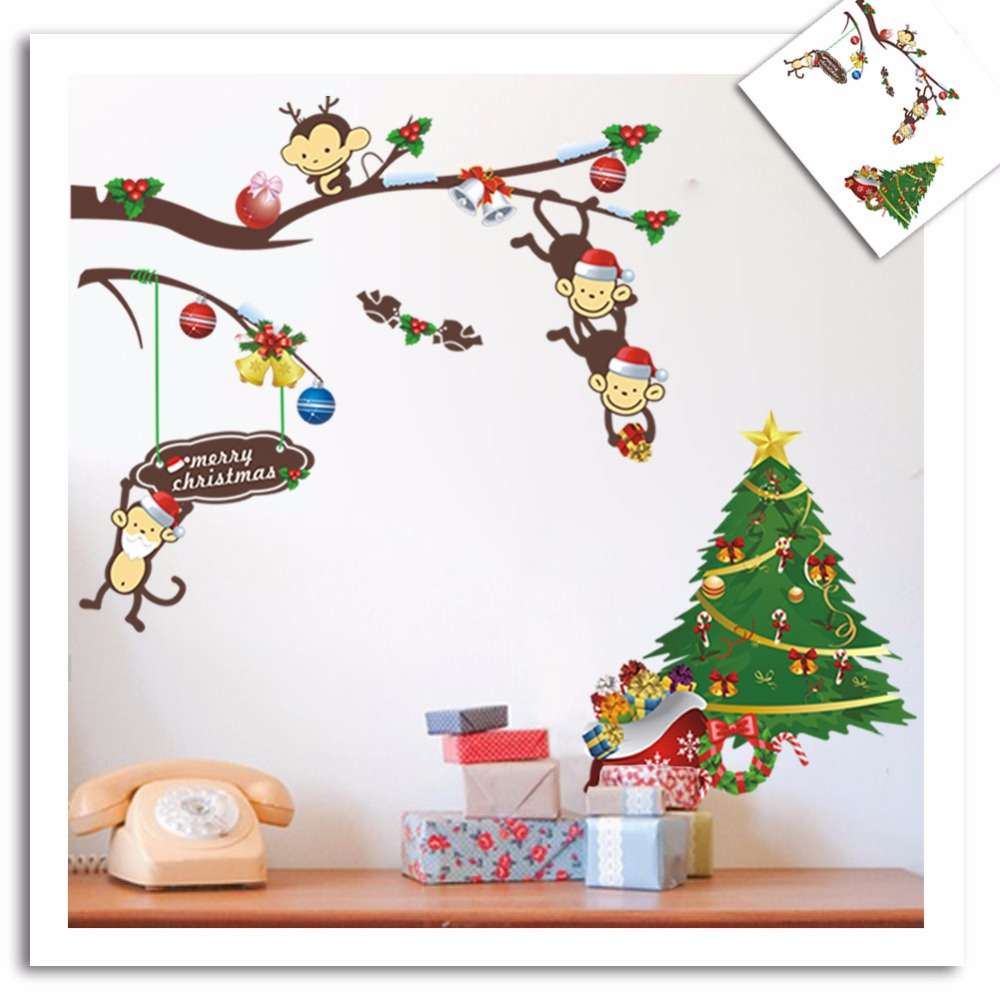 aliexpress com buy christmas monkey tree removable wall stickers aliexpress com buy christmas monkey tree removable wall stickers decals kids nursery baby room art decor free shipping 2pcs from reliable sticker light