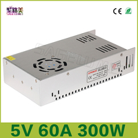 Free shipping DC5V 2812B 2801 8806 Lighting Transformers 5V 60A output 300W Switching Power Supply Driver LED Adapter CCTV US4