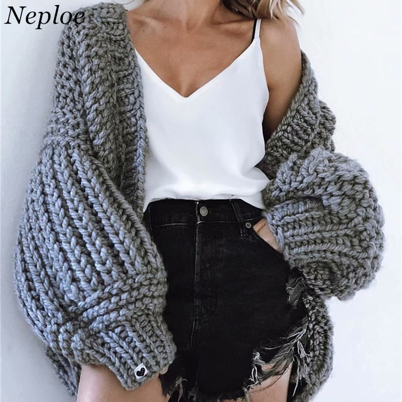 Sweaters Efficient Neploe Hand Knitted Solid Women Cardigan Loose Warm Sweet Girl Open Stich 2019 New Auttum Winter Fashion Chic Sueter Mujer 68637 Drip-Dry