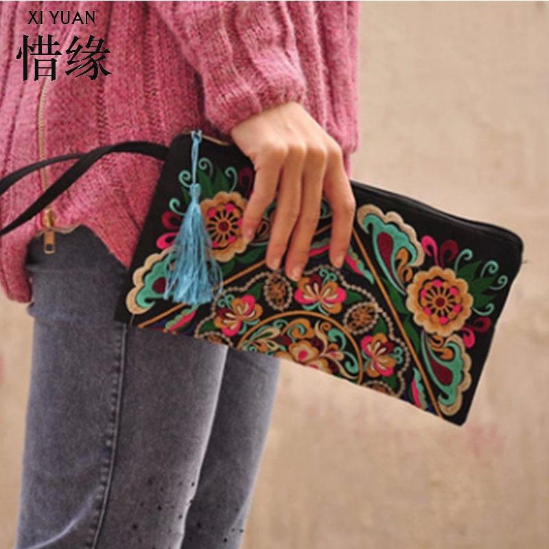 XIYUAN BRAND Handmade Delicate Clutch Wallet Women Handbag Ethnic Purse Retro Butterfly Flower Coin Purse Lady Embroidered Bag