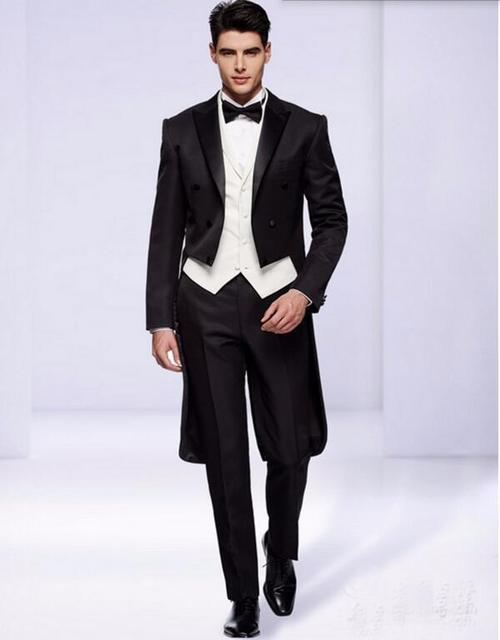 Aliexpress.com : Buy FOLOBE Custom Made Black men suits Double ...