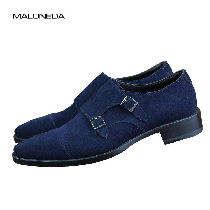 MALONEDA Bespoke Blue Color Genuine Leather Suede Shoes Double Monk Straps with Goodyear Welted Casual Slip On Shoe suede
