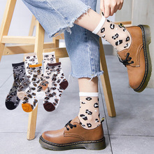 Fashion Sexy Black Leopard Tulle Socks For Women Thin Transparent Long Breathable Summer Funny Female Dress Hosiery