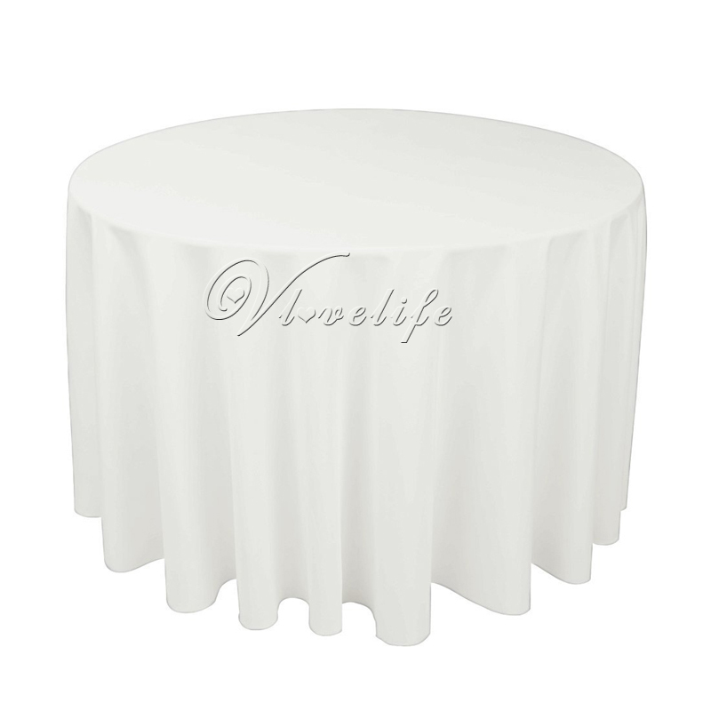 100 spun polyester white tablecloth round 275cm heavy weight polyester top quality wedding - Polyester Tablecloths