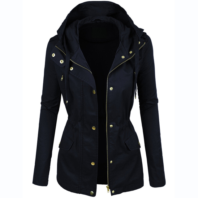 Women's Military Style Hooded Coat