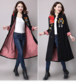 New 2016 Autumn Winter Women Plus size vintage printed long trench coat outwear China style embroidery windbreaker loose outfit
