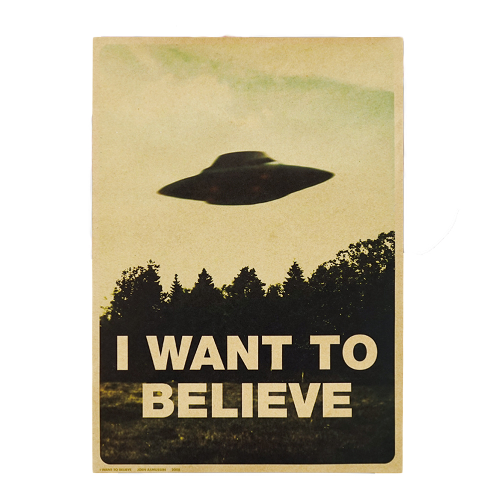 Alien UFO Retro  Classic Movie The  I Want To Believe   Paper Bar Cafe Home Decor Painting Wall Sticker