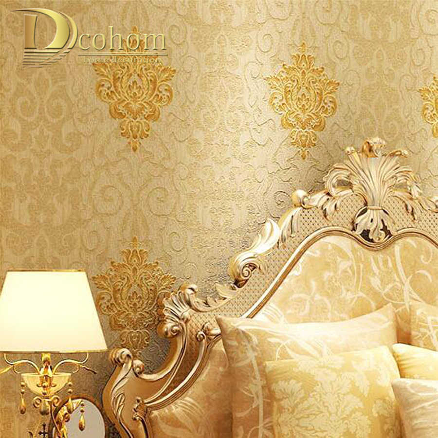 Luxury Beige Red Damask Wallpaper