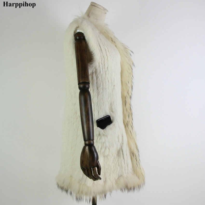 Mới Dệt Kim Lông Thỏ Áo Vest Gấu Trúc Cổ Lông Áo Gilet Áo May Áo Nâu Tự Nhiên/Trắng