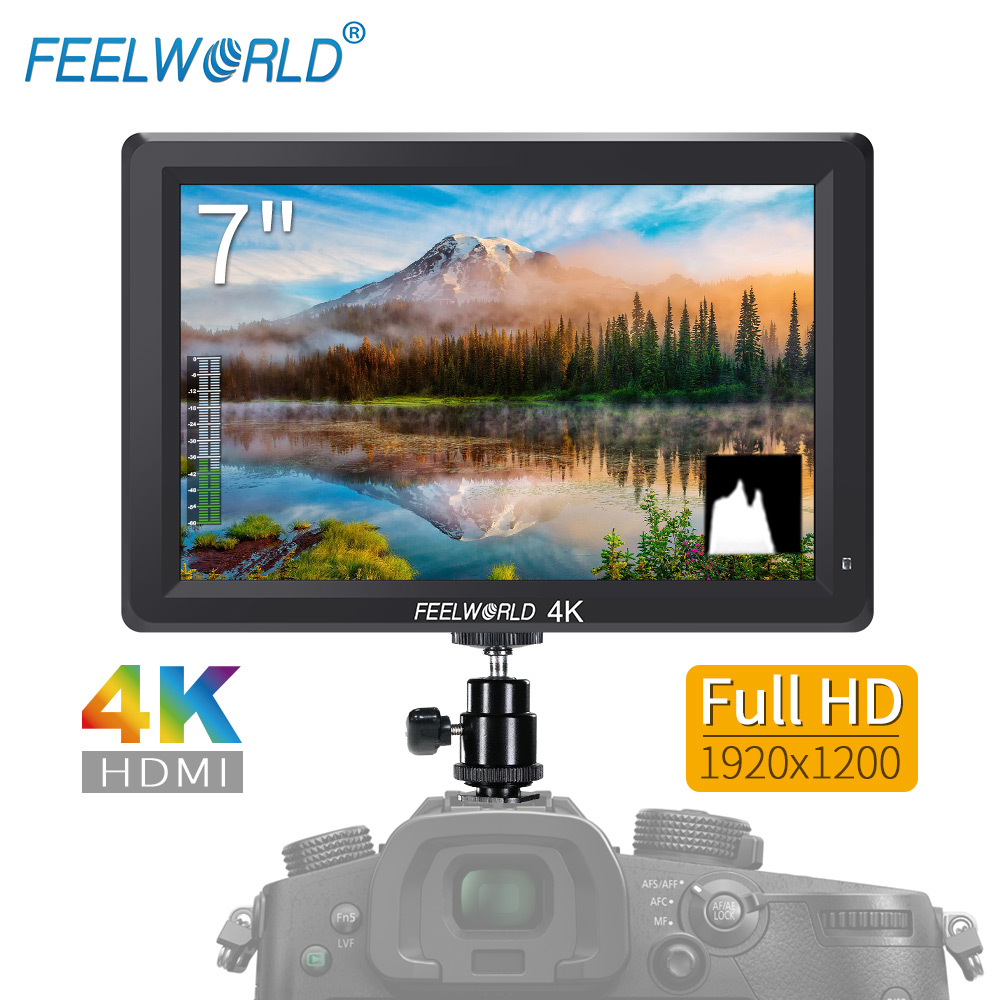 Feelworld 7 Inch IPS 1920x1200 4K HDMI Monitor Camera Field Monitor with Peaking Focus Histogram Embedded Audio Zebra T756