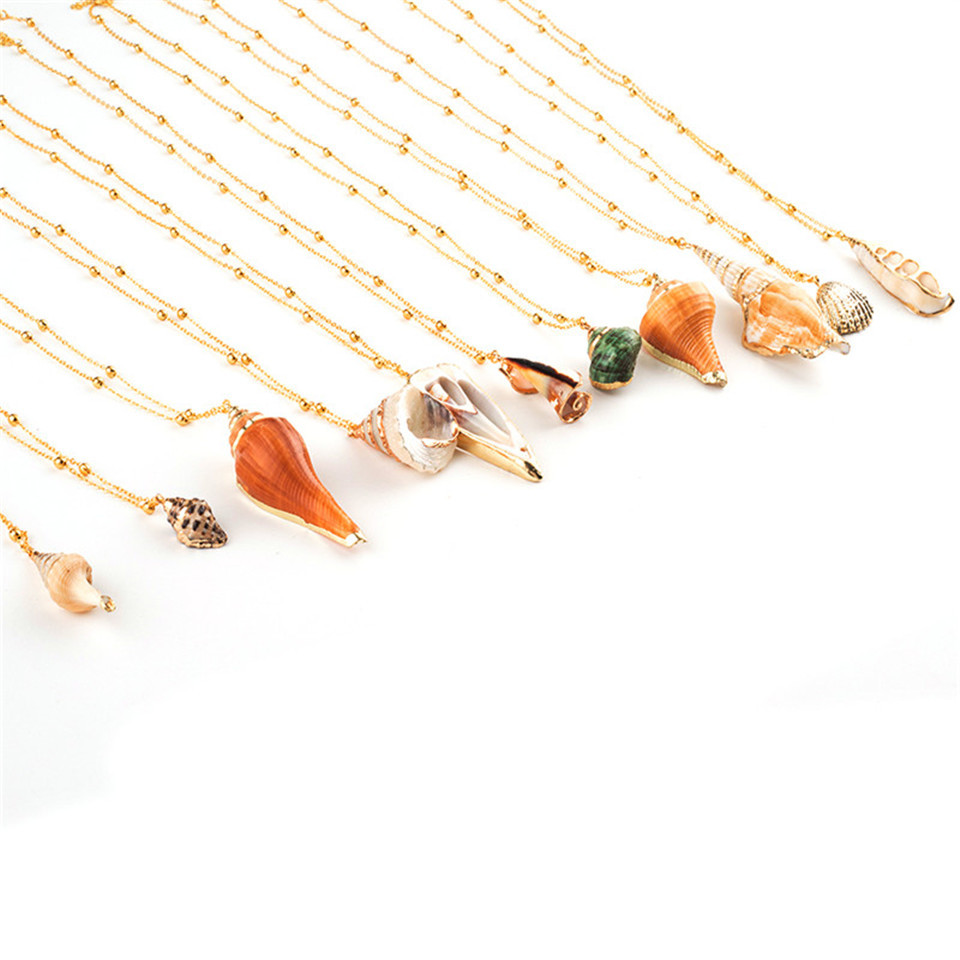 20 Styles Seashell Pendants Initial Necklace female Statement Jewlery Geometric Multix2dlayer Shells Choker Necklaces for Women (41)