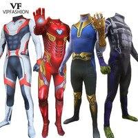 VIP FASHION Marvel Classic Avengers Endgame Quantum Realm Iron Man Thanos Cosplay Superhero Bodysuit Halloween Costume Adult Kid