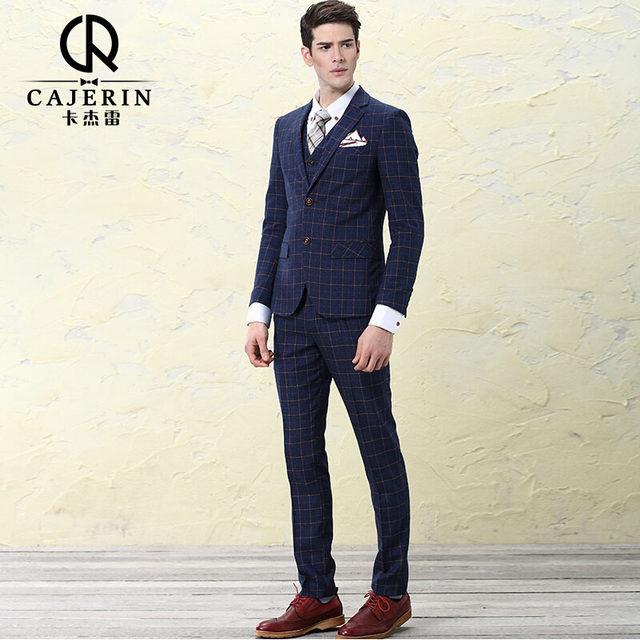 Vintage Royal Blue Mens Plaid Suits Wedding Tuxedo Groom Slim Fit Dress Blazer Pants Vest