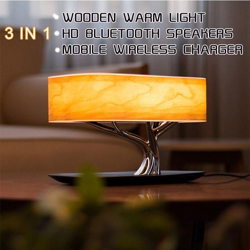 Arbre Lampe Haut-Parleur, Bluetooth Haut-Parleur ou wifi Haut-Parleur/Wirless Chargement (QI) /Led Lampe/Atuo Sommeil, mobile téléphone sans fil de charge