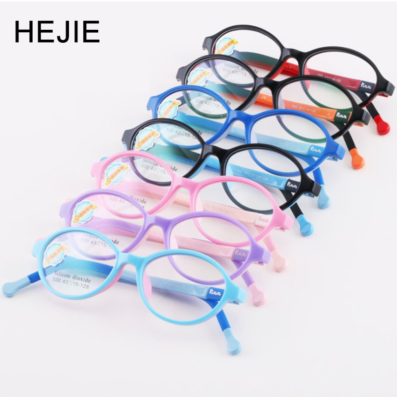 HEJIE Kids Safe Silicone Clear Lens Optical Eyeglasses Frames For Toddler Boys Girls Children 2-4 Years Old Size 43-15-128mm 530