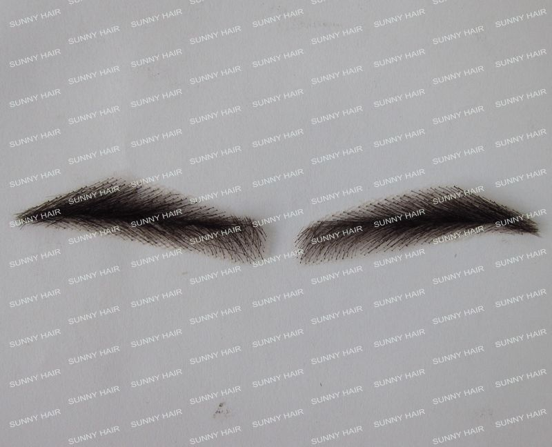 hand made human hair man false eyebrow 019B black color hand knot fake eyebrow eb013 invisible swiss lace relastic hand made human hair false eyebrow dark brown 2 color