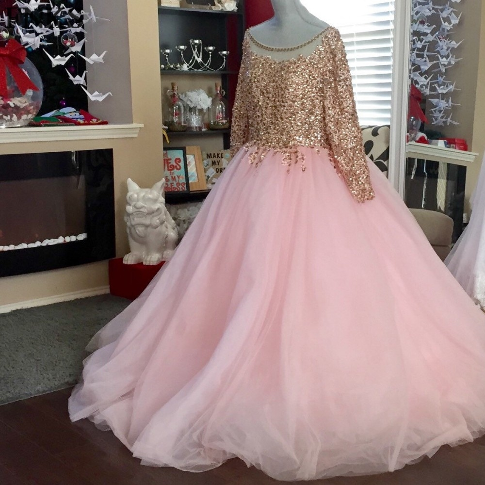 2017 Luxury Beaded Sequins Pink Prom Dress Plus Size Long Sleeve Sexy Sheer Illusion Formal Party Dress Customize Cheap Gowns-in Prom Dresses from ...