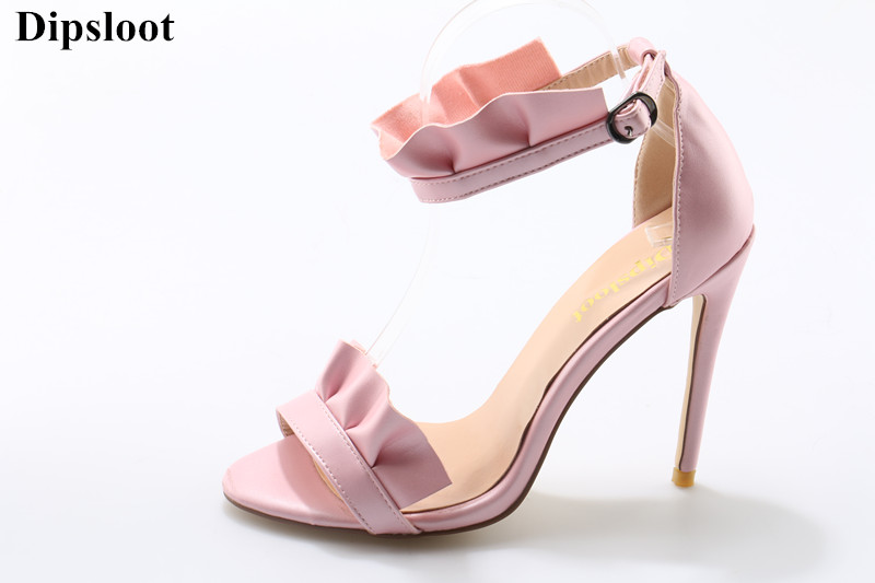 Girls Sweety Flower Thin High Heels 2018 Sexy Peep Toe Woman Summer Gladiator Sandals Female Buckle Strap Pink Wedding Shoes lady elegant sexy big size 4 17rhinestone peep toe pu buckle strap thin high heels women shoes pumps sandals girls summer style