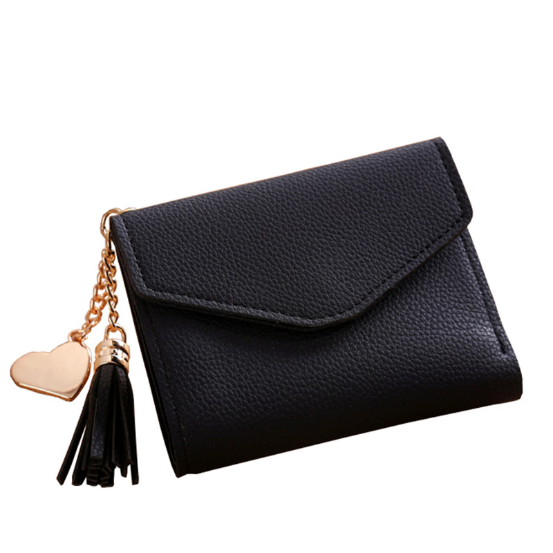2018 Wallet New Fashion Women Simple Short Tassel Coin Purse Wallet Card Holders Handbag Wallet Female Famous Femme Carteira 2018 retro women long wallet purse luxury designer coin purse card holders female handbag wallet for girl portefeuille femme