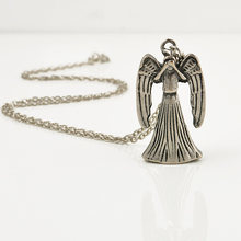 Boho Movies Doctor Who Weeping Angel 3D Double-Faced Chain Necklaces Sliver Color Alloy Pendant Accessories Free Shipping(China)