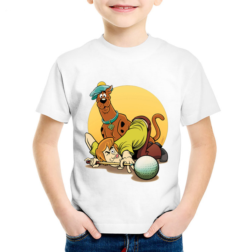 Cartoon Print Scooby Doo And Furry Children Funny T-Shirt Kids T-Shirt Summer Boys Girls Baby Round Neck Cotton Tops Clothes