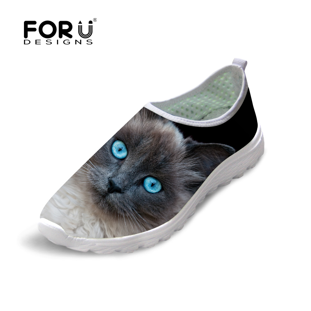 FORUDESIGNS Fashion Summer Style Women Slip-on Flat Shoes Cute 3D Animal Owl Pet Cat Print Mesh Shoes Female Network Light Flats forudesigns cartoon shark print women flats shoes sneakers casual women s summer mesh shoes beach girls loafers slip on zapatos