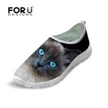 FORUDESIGNS Estilo de Moda de Verano de Las Mujeres Resbalón-en Los Zapatos Planos Lindo 3D Owl Animal Pet Cat Print Mesh Zapatos Femeninos Red de Luz pisos