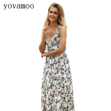 Yovamoo 2018 Summer New Sexy V-neck Backless Cross Strap Bow Bandage Bohemian Floral Print Dresses Elegant Beach Long Cami Dress kids floral print bow tie cami dress