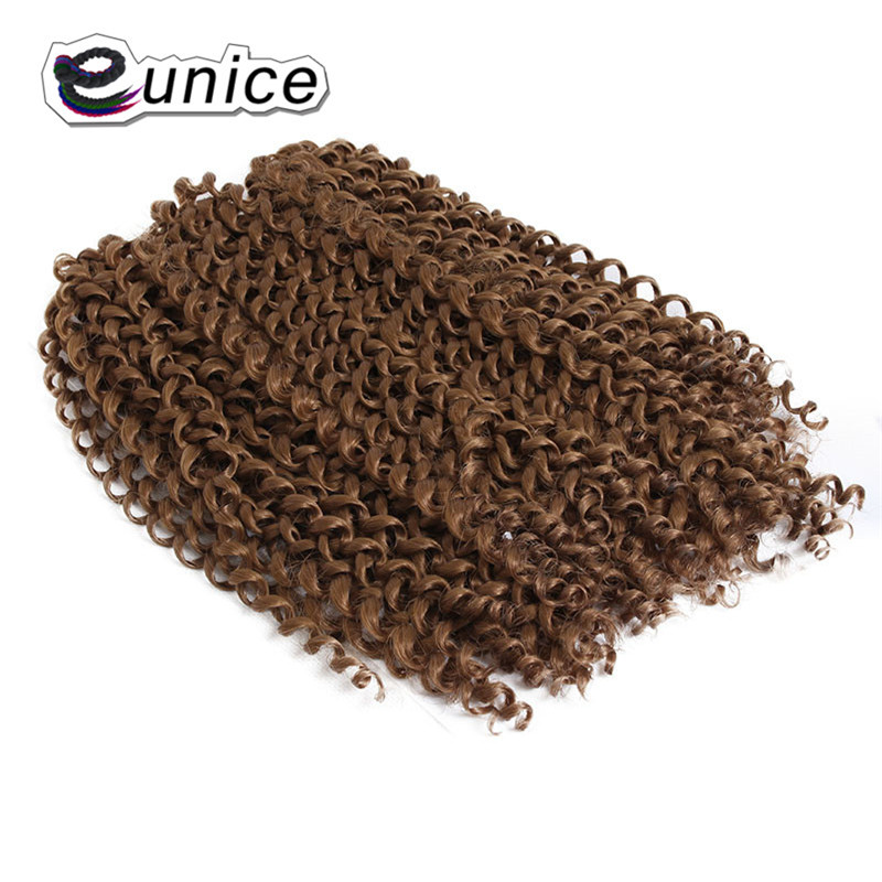"Eunice 10""inch Short Crochet Hair Extensions Kinky Curly Hairstyle Synthetic Braiding 100% Premium HAIR 2 lots for Full Head"